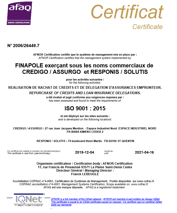 Certfication Iso 9001 2020